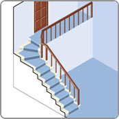 Stannah stairlift staircase with pie shaped steps