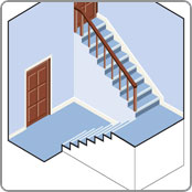 Staircase with half landing suitable for a curving track stairlifts