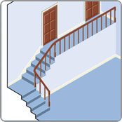 Staicase with a landing for a straight stairlift