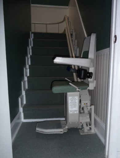 Stannah 260 with Sarum standard seat ready for use