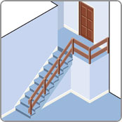 Staight staircase with landing for a stair lift