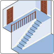 Straight staircase for stairlift