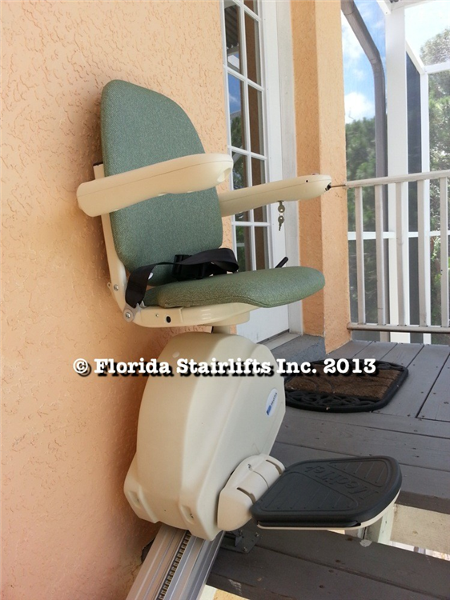 Your outdoor staircase can have a stair lift. This is fully featured, designed for the outside elements to give safe and reliable service for years to come.