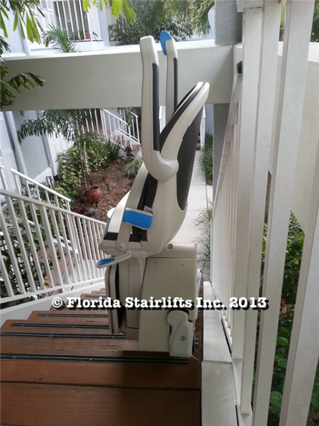 This stairlift rail is sleak and has low intrusion into the staircase width due to its vertical profile. The positive gear rack drive is also hidden from view.
