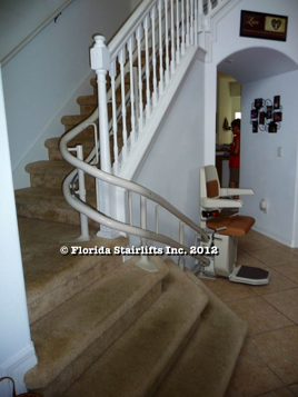 A true custom curved stair lift matches the staircase turns perfectly, no complaints with this one.